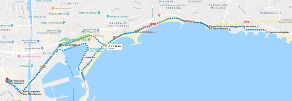 Ruta por Málaga paseo marítimo mtraining