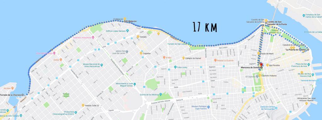 rutas de running en la Habana malecón